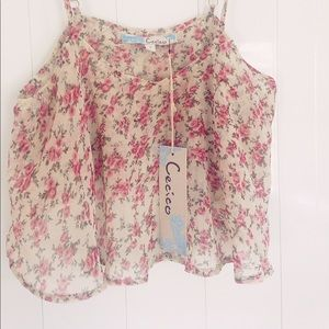 Cecico Cami Crop Top Foral Layered Tank Roses Pink